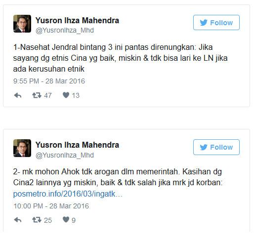 Yusron Ihza Mahendra Rasial Tweet Ancaman Peristiwa