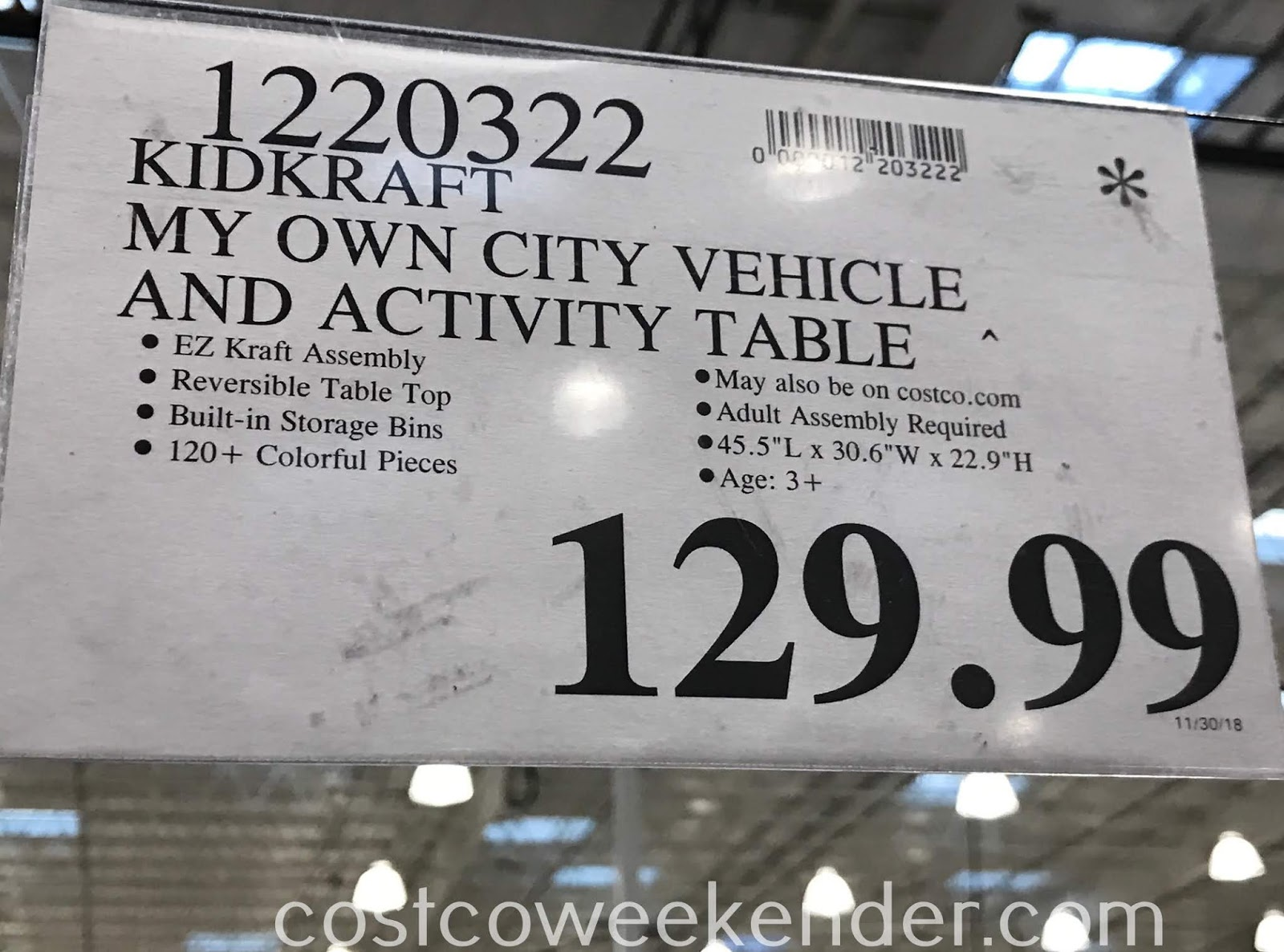 Deal for the KidKraft My Own City Vehicle and Activity Table at Costco