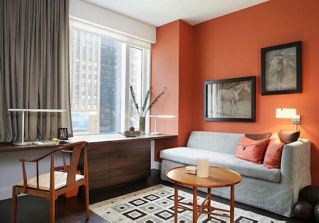 Desain Interior kombinasi warna orange dan hijau