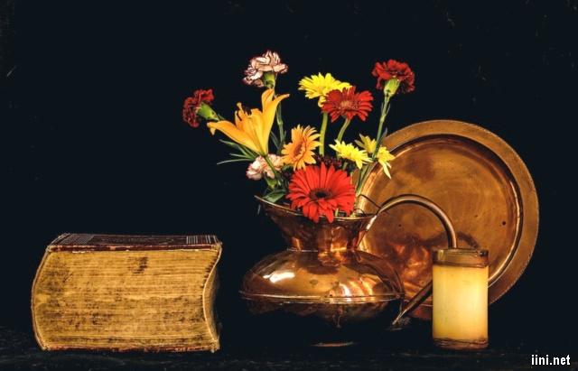 sách và bình hoa đẹp