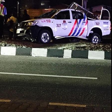 Omg! Drunk Police Officers Crash Official Van in Lagos After Speeding on BRT Lane (Photo)