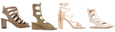 Three of these pairs of lace up sandals are from designers for $955 to $1,155 and one is from Dune on sale for $76. Can you guess which one is the more affordable pair? Click the links below to see if you are correct!