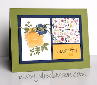 Stampin' Up! Occasion Catalog 2019 ~ Needle & Thread Thank You Card ~ www.juliedavison.com