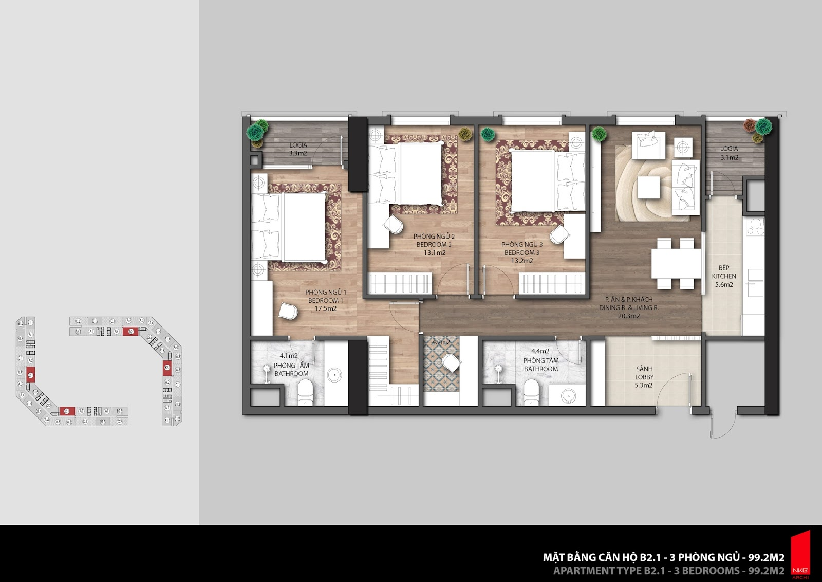 Mặt bằng căn hộ 99,2m2