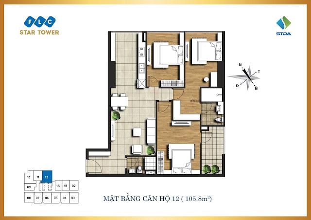 thiết kế căn hộ flc star tower 105,8m2