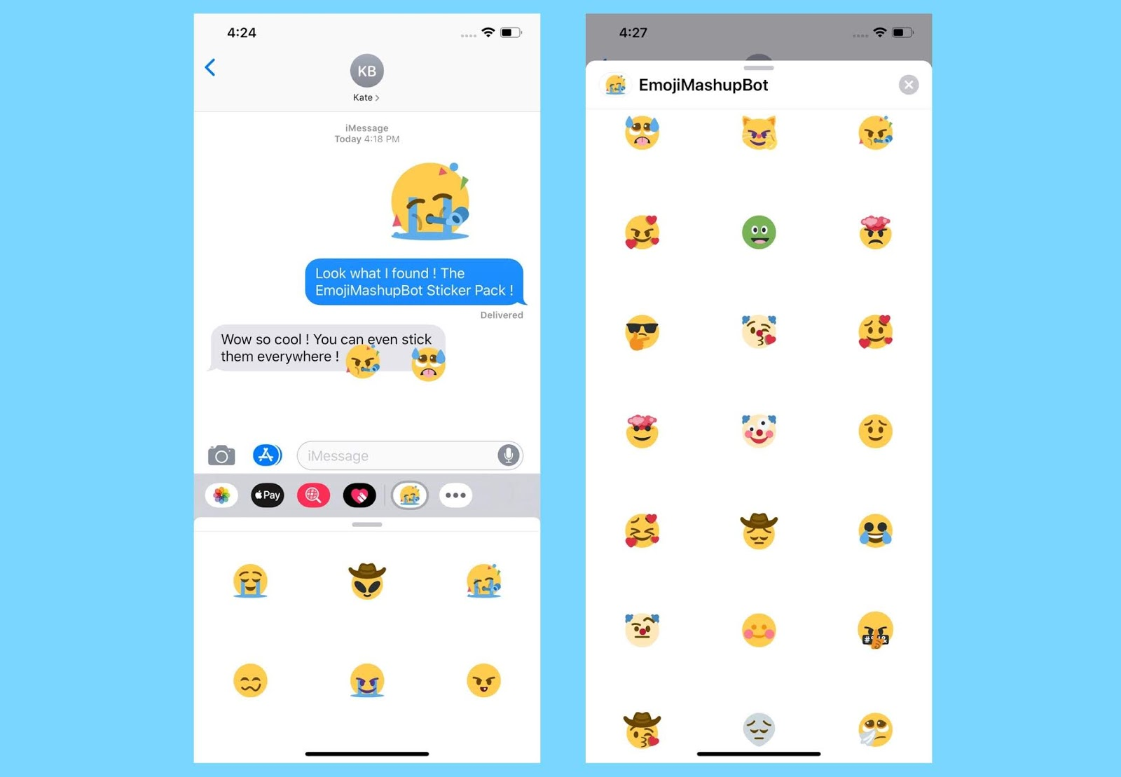 The new Emoji Mashup Pack is now available on Whatsapp and iMessage
