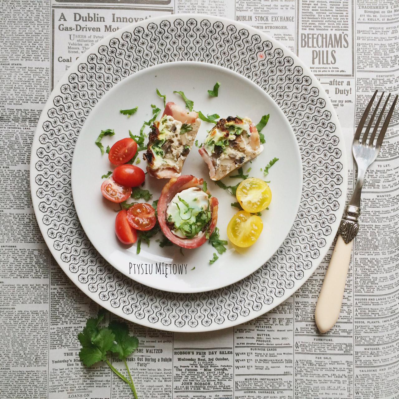 jajka, pieczarki, sniadanie, ptysiu mietowy