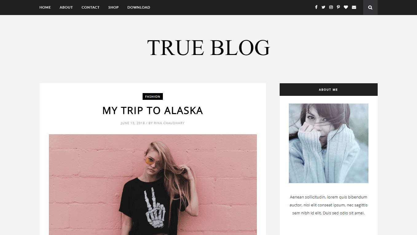 True Blog is the best free blogger template for writers
