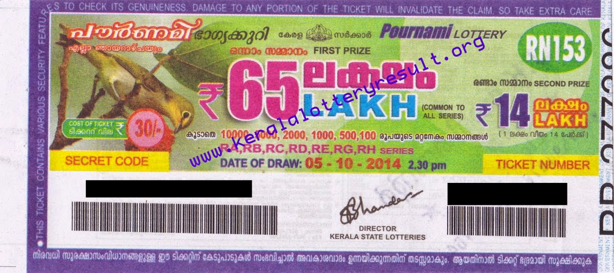 Kerala State POURNAMI Weekly Lottery