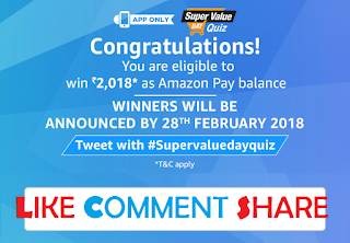 Answer of Super Value Quiz CONGRATULATION
