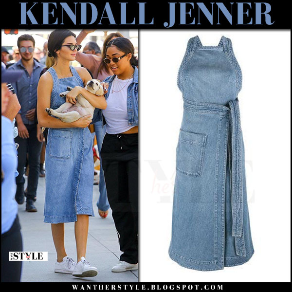 Kendall Jenner in denim midi dress stella mccartney what she wore june 20 2017