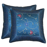 Handmade Silk Brocade Blue Throw Pillow Cover