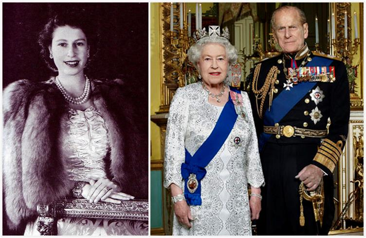 Wearing The Bracelet In 1948 Left And For Her 2017 Diamond Jubilee Portrait Right