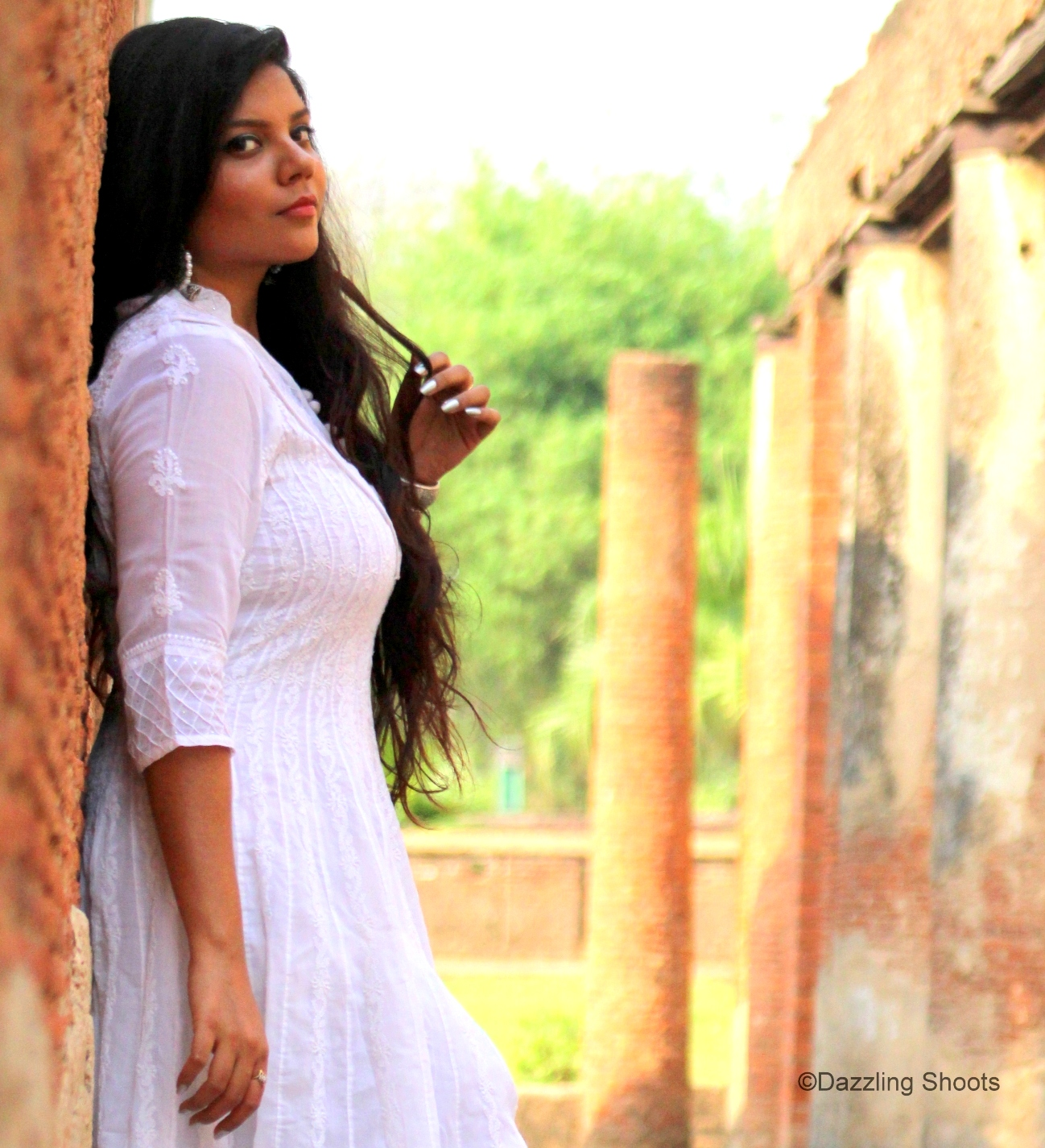 Chikan White Anarkali Lucknow