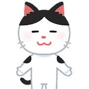 猫のキャラクター(白黒)