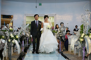 Korean wedding day - walking down the aisle