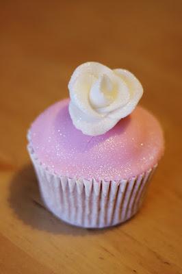 Pink glittery rose cupcake