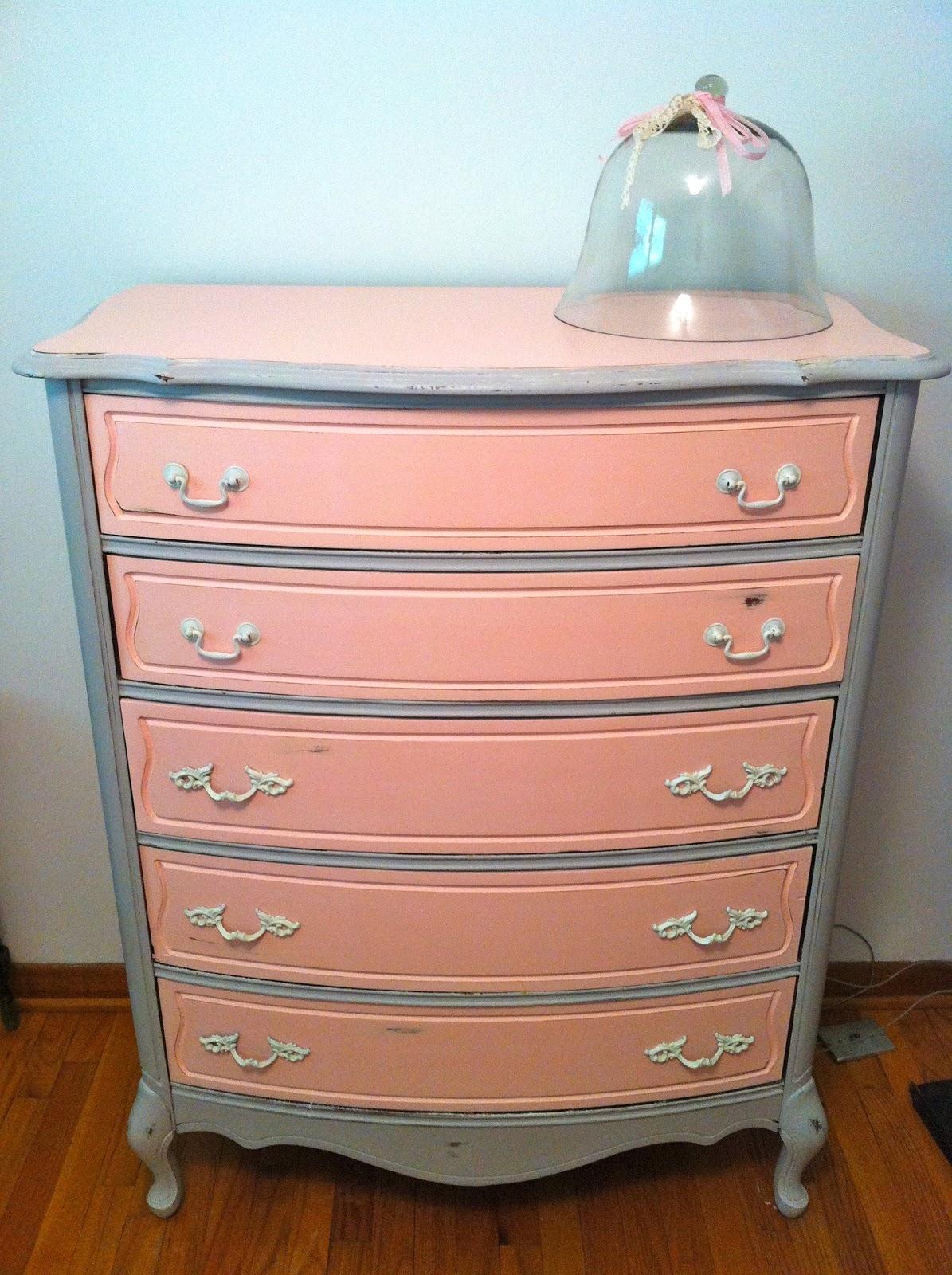 Pink Dressers For Girls Bedroom Set: White Woods Vintage: Pink And Grey Dresser