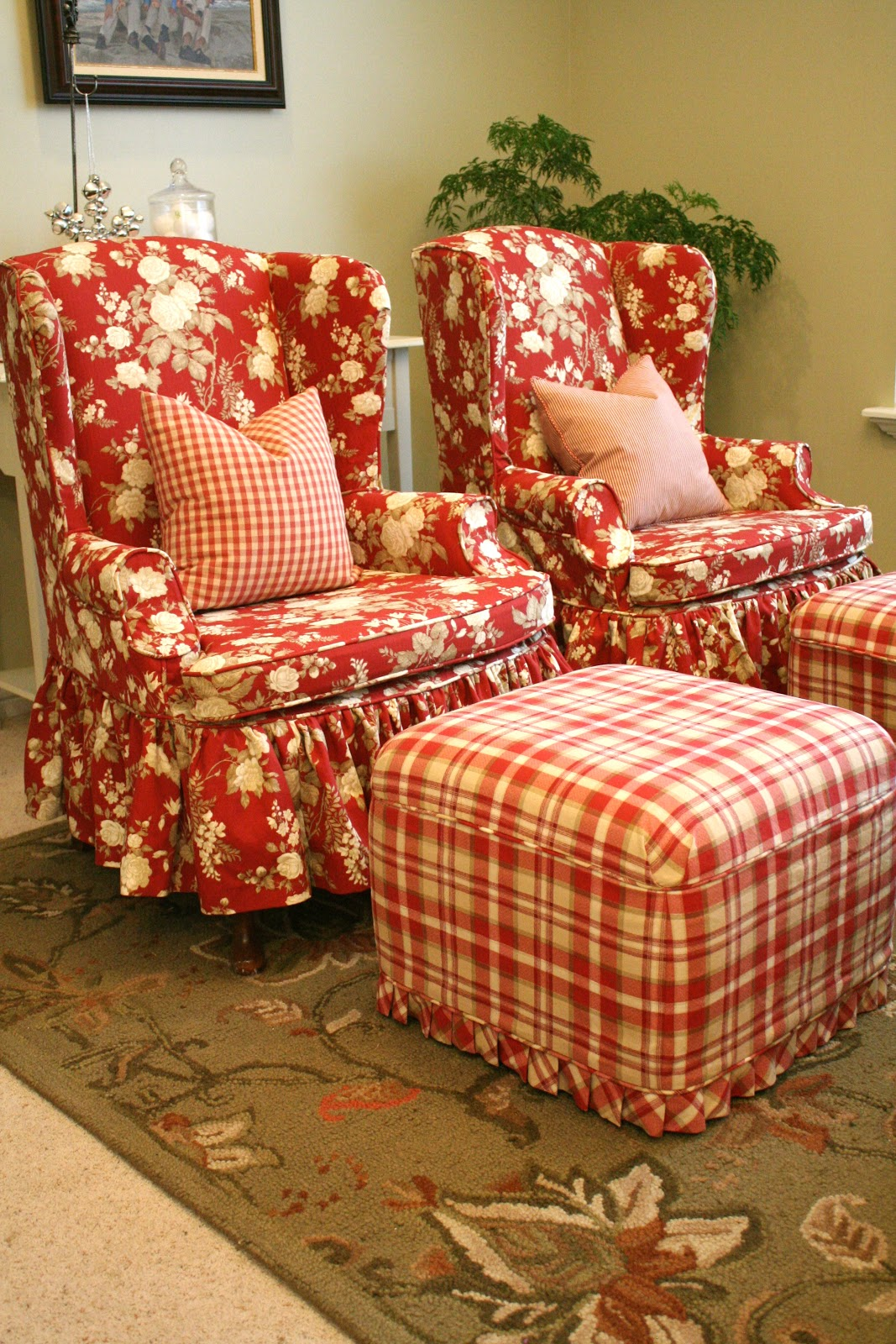 red wingback chair slipcover bedroom floral custom slipcovers by shelley sasha 39s front room