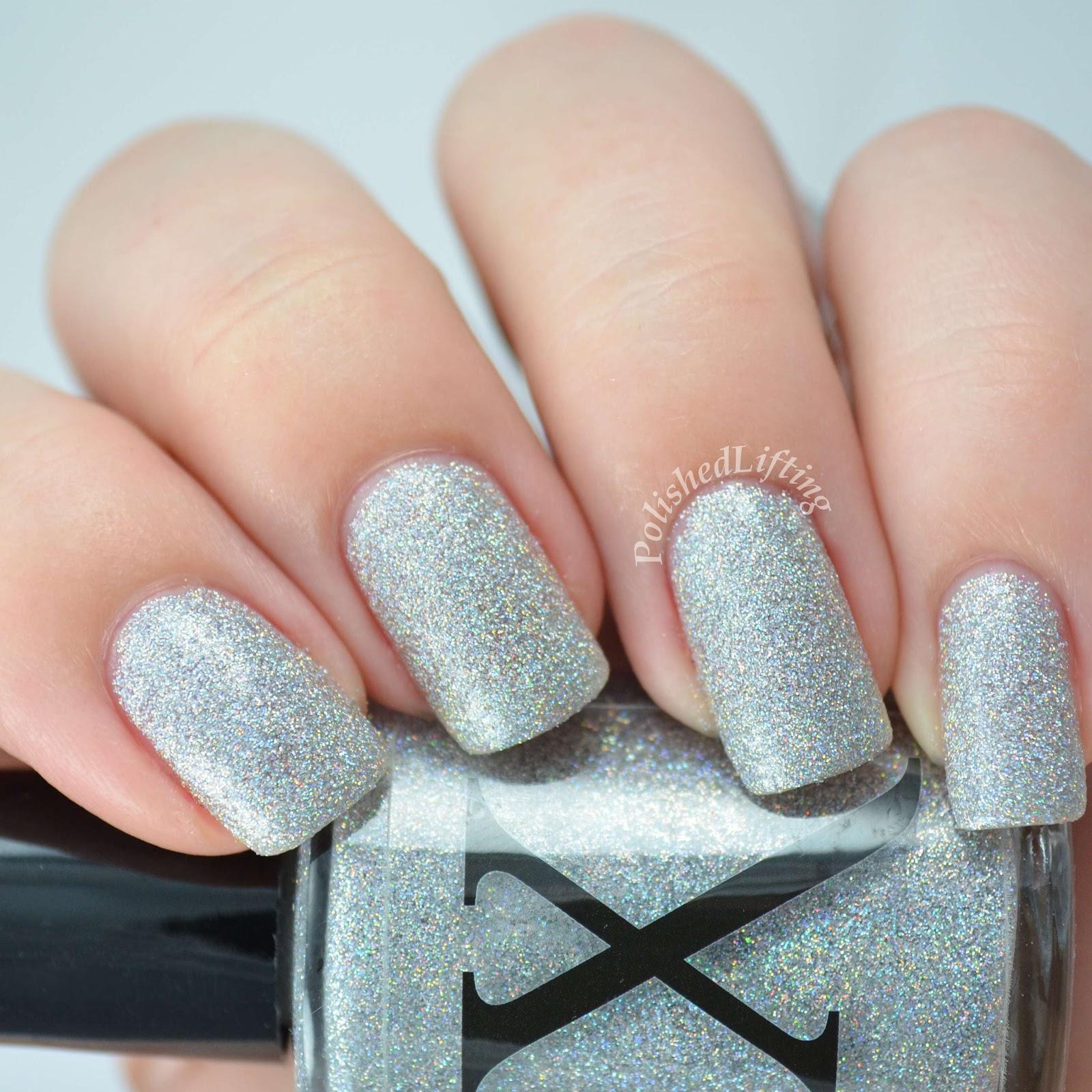 Silver nail polish with glitter