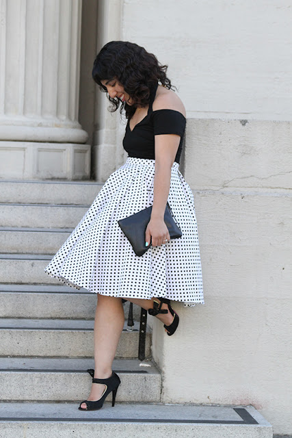 Black Off the Shoulder Bodysuit and Polka Dot Circle Skirt Outfit