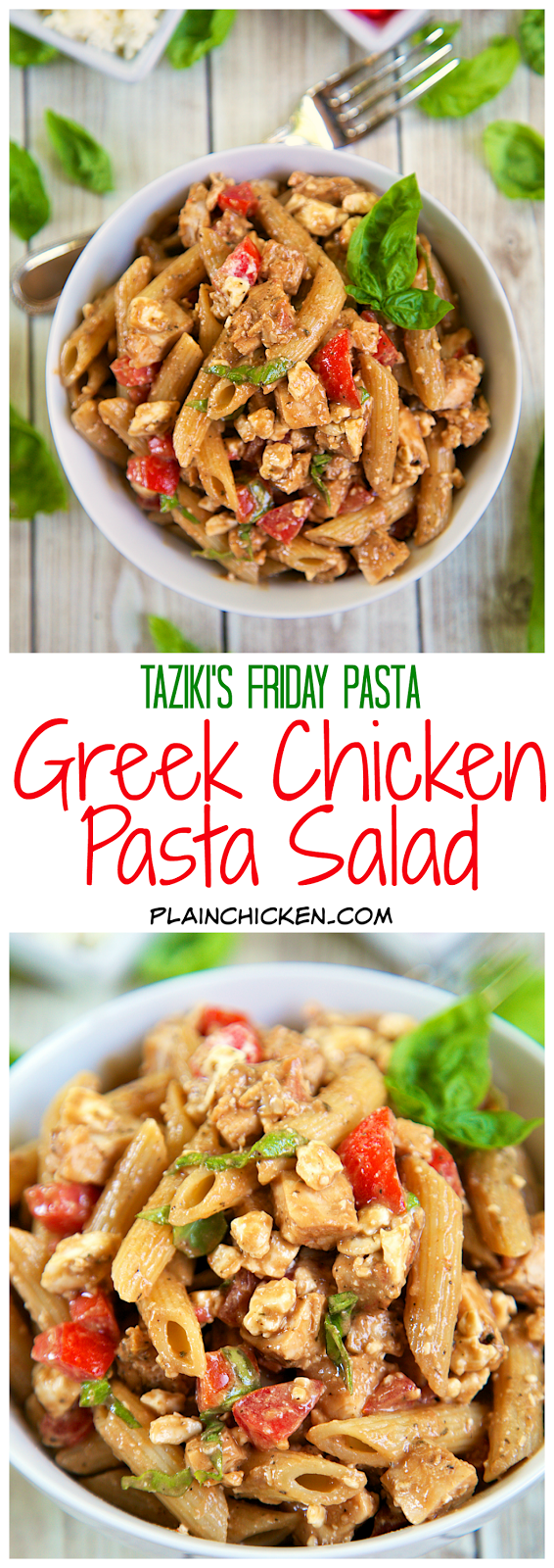 Greek Chicken Pasta Salad  - recipe for Taziki's Friday Pasta - homemade vinaigrette tossed with penne pasta, chicken, feta, tomatoes and fresh basil - good warm or cold. Great for a potluck. Can make a day ahead - the flavors get better as it sits. This is seriously delicious!