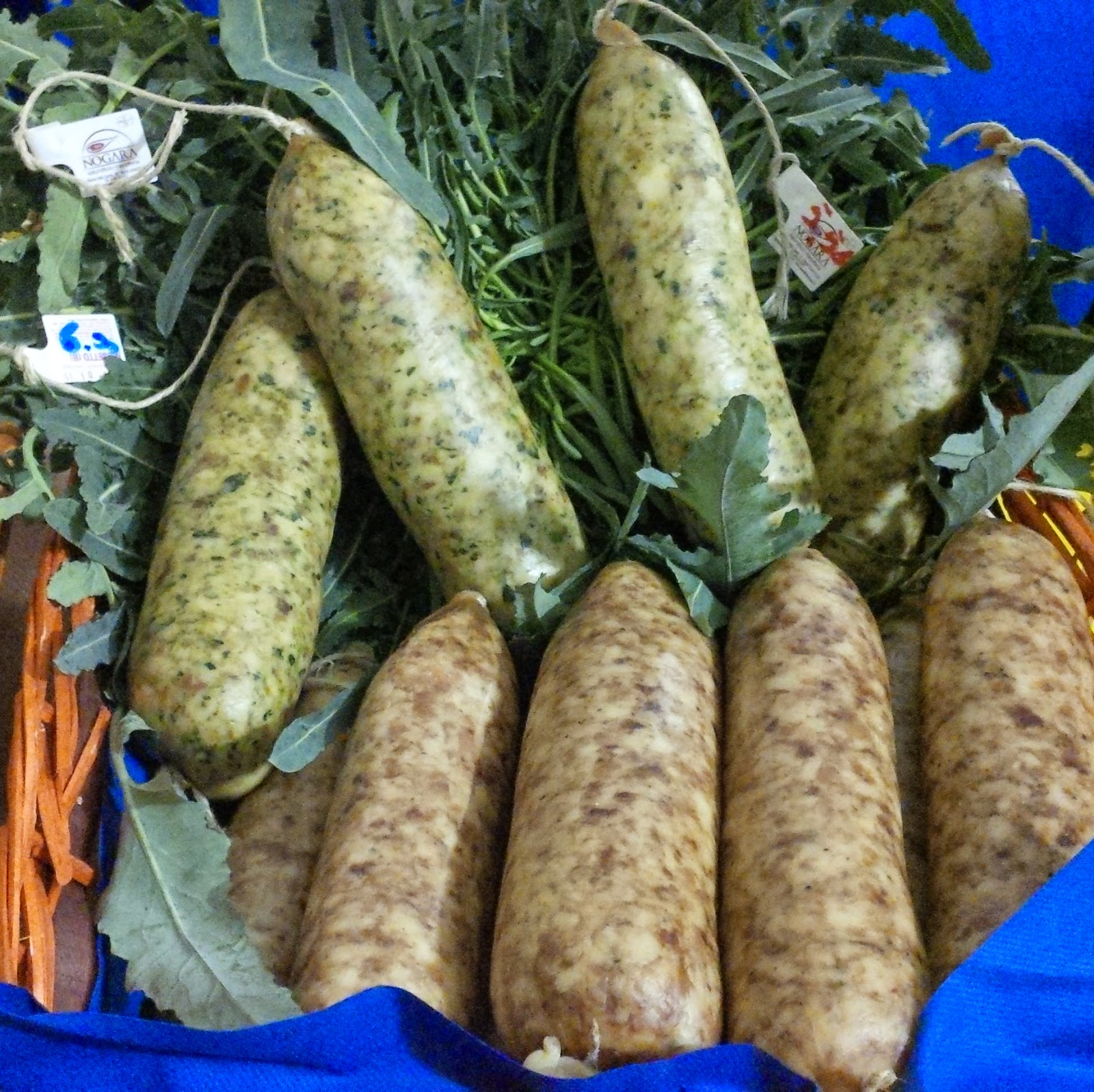 Sausages made with broccolo fiolaro at the food festival in Creazzo