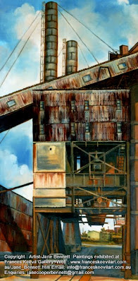 oil painting of White Bay Power Station by artist Jane Bennett