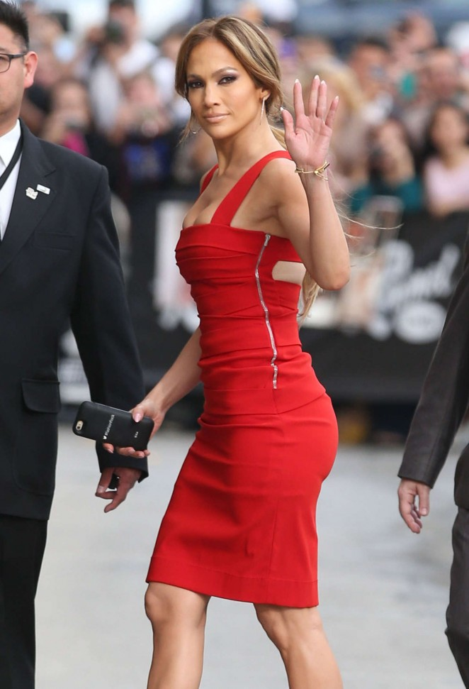 Jennifer Lopez arrives at 'Jimmy Kimmel Live' in a figure hugging red dress