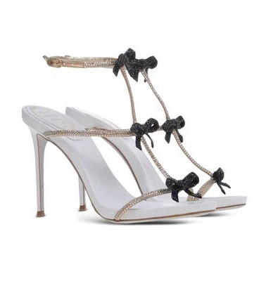 Rene Caovilla Rhinestone and bow stiletto sandals