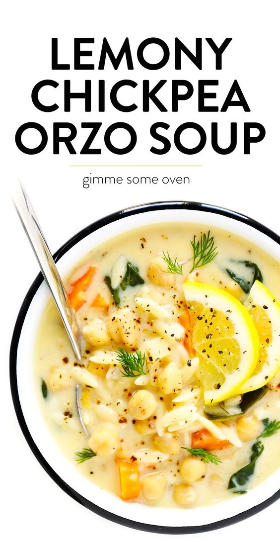 Lemony Orzo Chickpea Soup