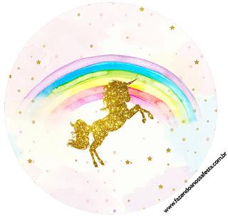 Toppers o Etiquetas de Fiesta de Unicornios  para Imprimir Gratis.