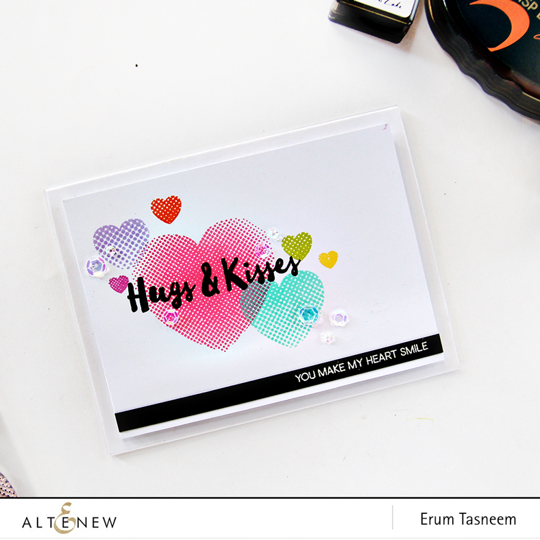 Altenew Halftone Hearts stamp set, card by Erum Tasneem - @pr0digy0