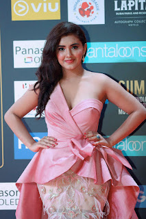 Malvika Sharma in a pink half Shoulder Deep neck Gown Stunnig Cuteness