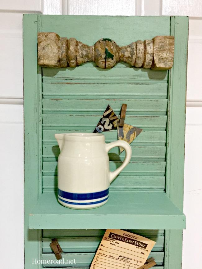 vintage shutter shelf with pitcher