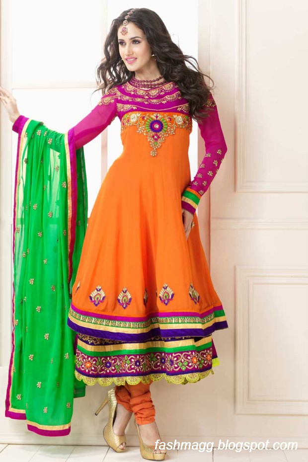 Fashion Style Indian Anarkali Umbrella Wedding Brides Bridal Party Wear Fancy Frocks 2014 New