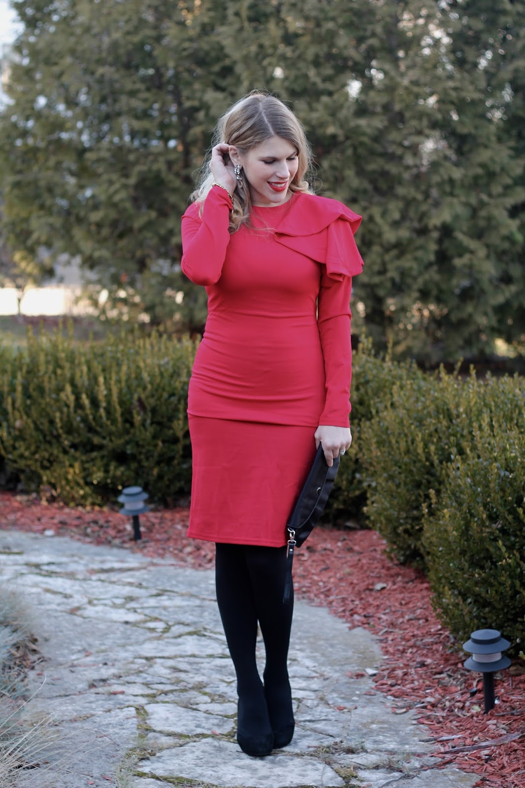 affordable holiday dresses, red long sleeve ruffle dress, shein holiday dresses
