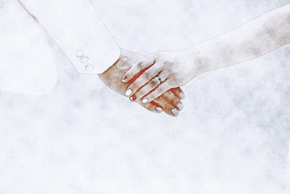 水彩画の繋いだ手-結婚式