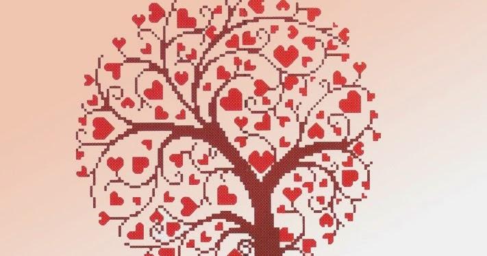 albero cuore punto croce  Hobby lavori femminili  ricamo