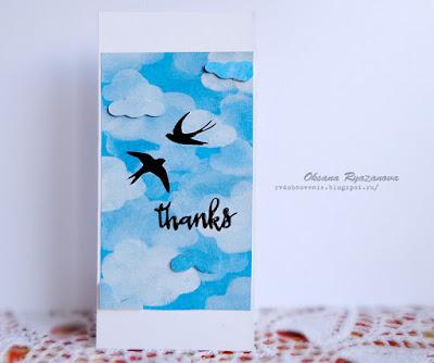 КАС, Clean and Simple, Оксана Рязанова, новогодняя открытка, скрапбукинг, открытка своими руками, спасибо