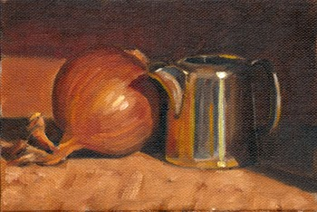 Oil painting of a sliver-plated jug beside a brown onion.