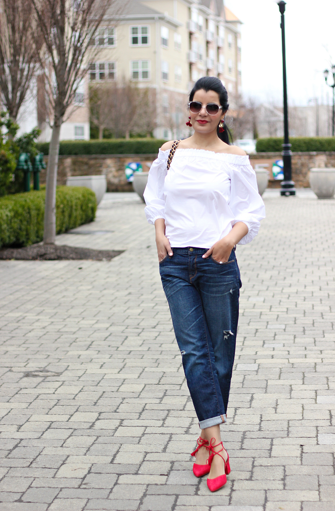 Halogen Iris Lace Up Pumps, J.Crew Long Sleevs, Off The Shoulder Top, Gap Boyfriend Jeans