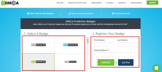 Daftar dan Membuat Widget DMCA - Kored Id