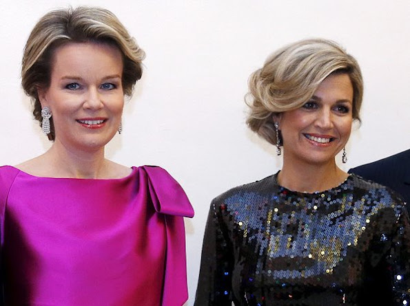 Queen Maxima and Queen Mathilde style, fahons, Nina Ricci Sequinned Dress, Natan Dress, Prada clutch bag, Banana Republic dress