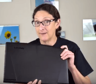 Lisa Gade Holding The Lenovo Legion Y520