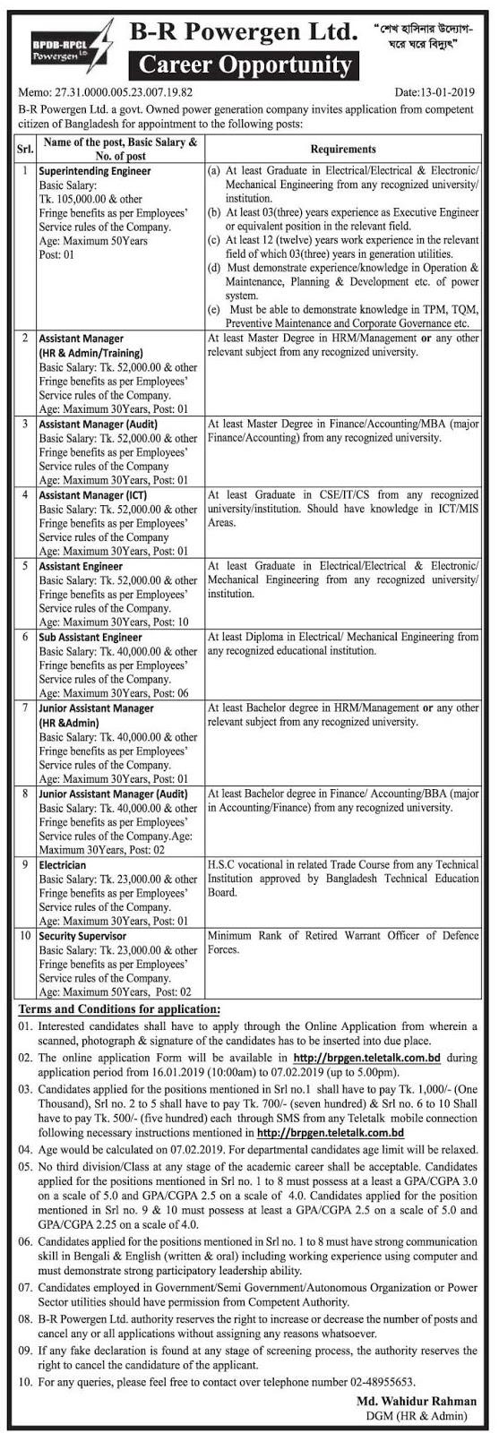 B-R Powergen Ltd. Job Circular 2019