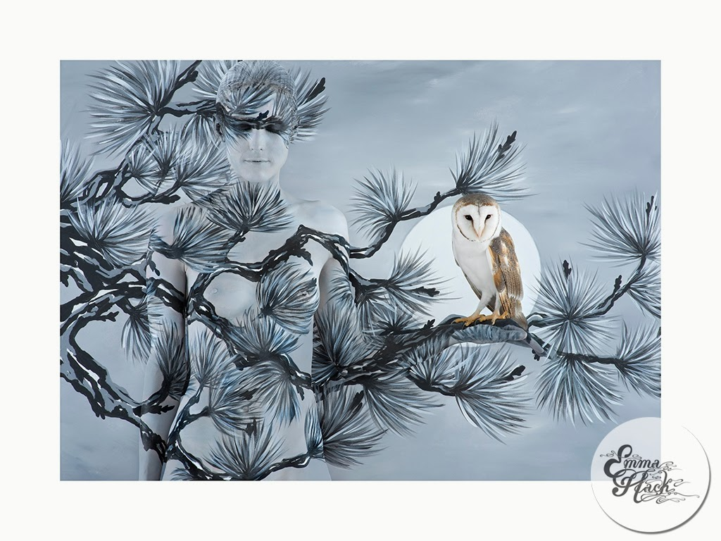 06-Oriental-Fir-With-Owl-Emma-Hack-Invisible-Body-Painting-www-designstack-co
