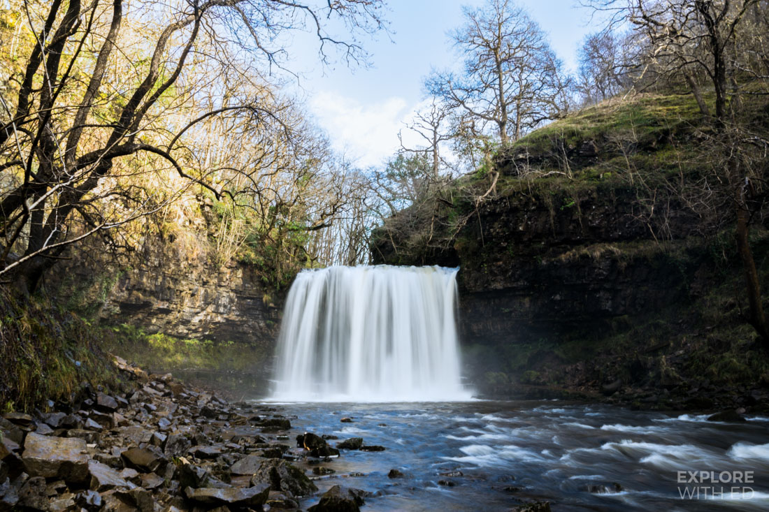 Sgwd yr eira waterfall, The waterfall of the snow, Waterfall you can walk behind in Brecon Beacons