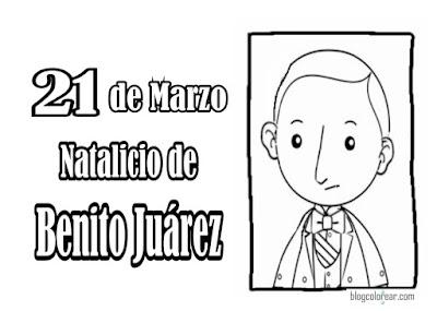 21 marzo, Dibujos colorear de Benito Juárez