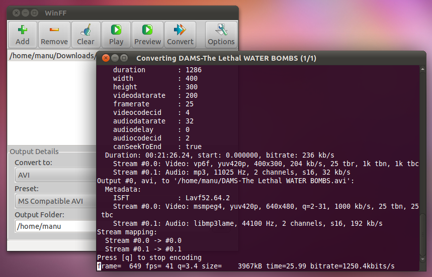 WinFF - GUI for FFmpeg to Convert File Formats Like AVI, FLV